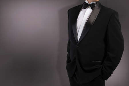 specific clothing: Classical Black Tuxedo Bow tie