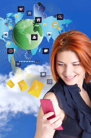 girl with a mobile phone.Globalization Internet Connect technologies photo