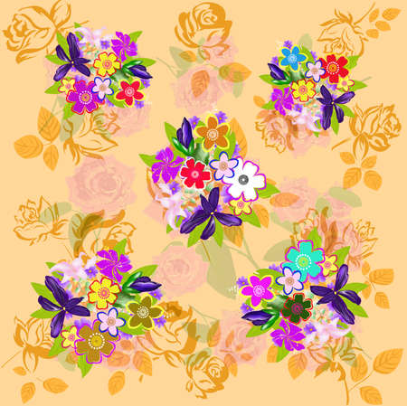 textiles: Flowers abstract fabric textiles pattern Illustration