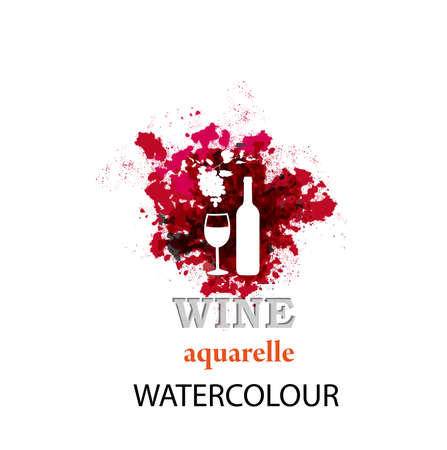 Wine. Abstract watercolor icon. Vector