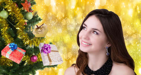 Merry Christmas.Beautiful happy Women photo