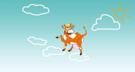 Happy dairy cow on clouds.Sticker milk fresh products