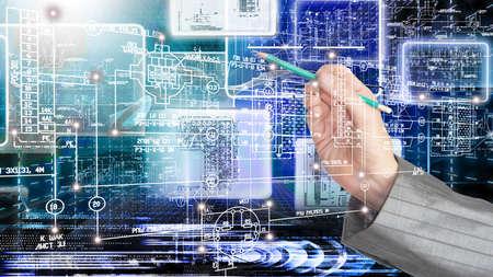 Engineering designing communications computer technologies.Industrial engineering connection Standard-Bild