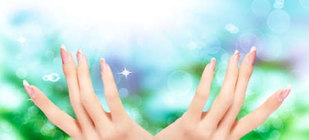 Light Pink  Art  Manicure. Nail. Beauty hands. Fashion Stylish Trendy Colorful Nails Stock Photo