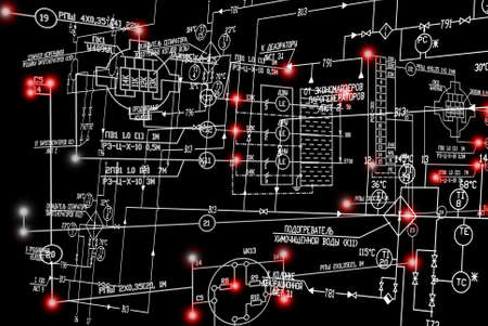 luminescence: Engineering industrial electrical scheme with red luminescence on black background.Power industrial technology