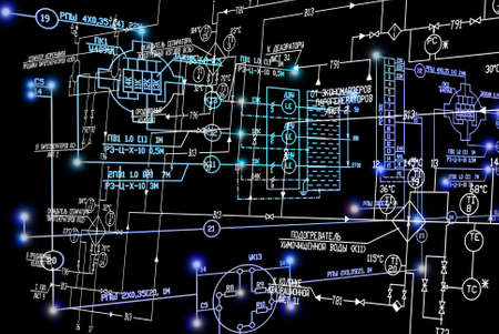 luminescence: Engineering industrial electrical scheme with blue luminescence on black background.Power industrial technology