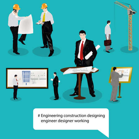 designing: engineer designer.engineering construction designing technology.vector icon Illustration