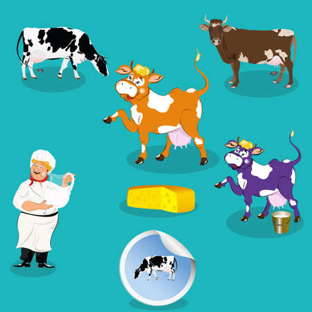 milkman: Cow,milkman,smiling milkman,sticker dairy product,vector icon. Illustration