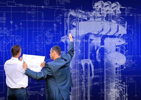 electric line: Industrial engineering technology. Designing power. engineer designer Stock Photo