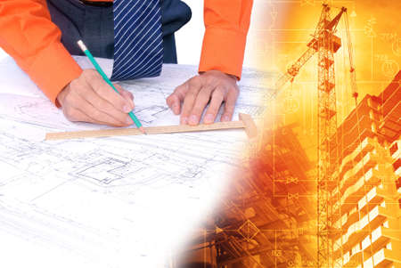 designing: Industrial engineering construction designing Stock Photo