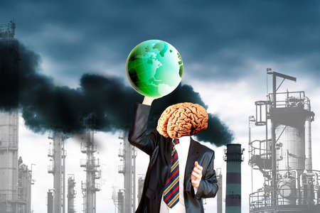 ecological disaster: Healthy human thinking green will save the planet from ecological disaster Stock Photo