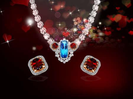 Jewlery diamond necklace with earrings glamor