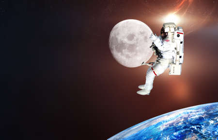 spaceman on the moon.cosmic stars