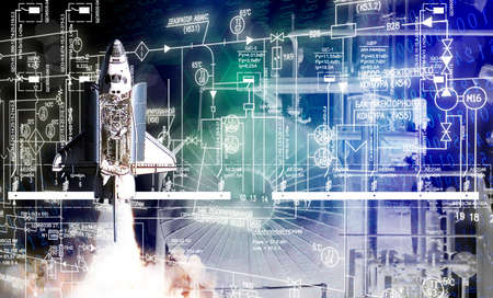 industrial construction technologies by generation space rocket.
