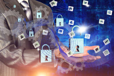 Security technologies wireless internet Stock Photo