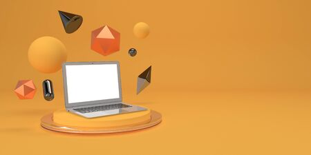Minimal mock up composition with laptop and geometry figures on podium 3d render