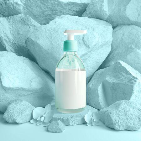Cosmetic mockup template soap jar on rocks podium 3d render