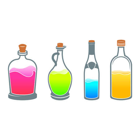 elixir: Set with different bottles on white background. Alcohol. Elixir. Vectores