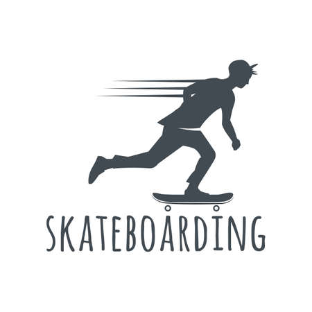 skateboard park: Longboard retro emblems. Graphic design for t-shirt. Dark print on white background