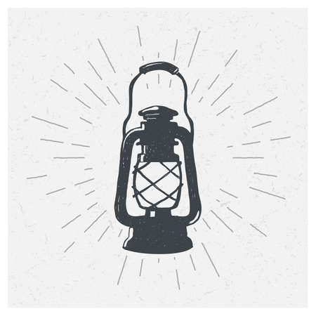 Hand-drawn vintage kerosene lamp. Sketch oil lamp. Vector illustration. Lantern.