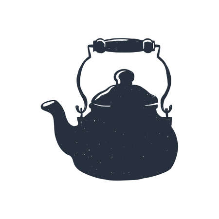 freehand tradition: Hand-drawn vintage kettle. Sketch style. Vector illustration. T-shirt print. Poster. Isolated on white background. Illustration