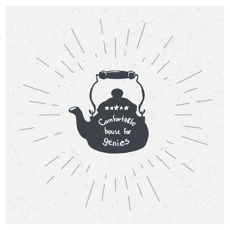 freehand tradition: Hand-drawn vintage kettle. T-shirt print. Poster. Black or green tea. Party. Stock Photo