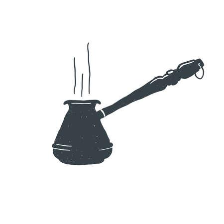 morning rituals: Hand drawn vintage Coffee turk. Sketch style. Turkish black. Vector illustration. T-shirt print. Poster. Logo