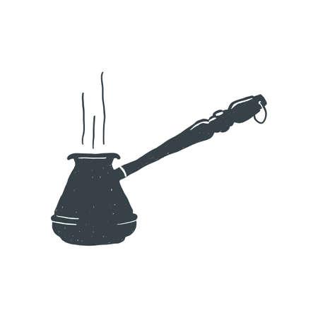morning rituals: Hand drawn vintage Coffee turk. Sketch style. Turkish black. Vector illustration. T-shirt print. Poster.