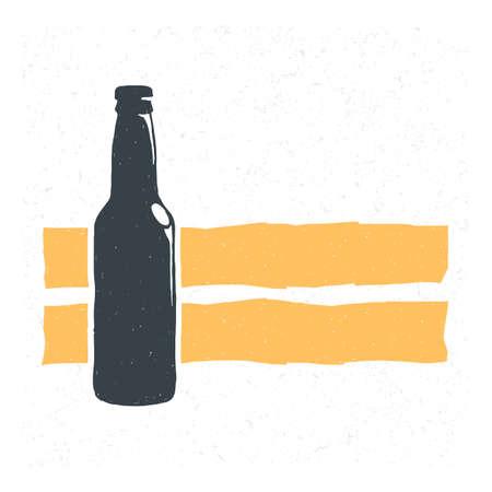 Hand drawn vintage bottle of beer. Sketch style. illustration. T-shirt print. Poster . Hipster. Retro badge. Emblem. Cold alcohol