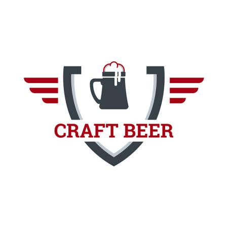 Original vintage retro art badge logo design template for beer house, bar, pub, brewing company, brewery, tavern, taproom, alehouse, beerhouse, dramshop, restaurant