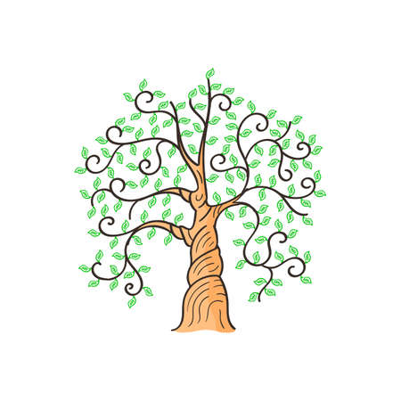 Beautiful tree on a white background,Isolated , branch with green leaves over  . graphics. Artwork design element.