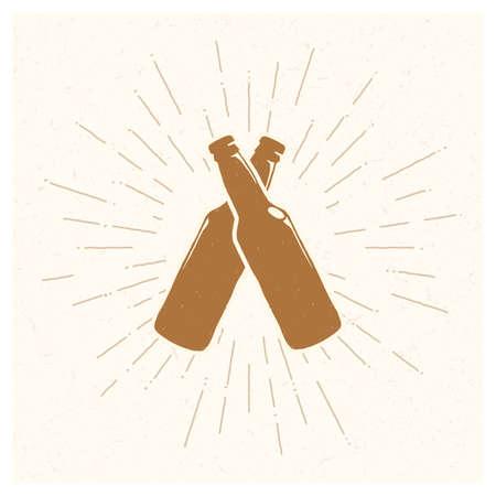Hand drawn vintage bottle of beer. Sketch style. illustration. T-shirt print. Poster. Hipster. Retro badge. Emblem. Cold alcohol
