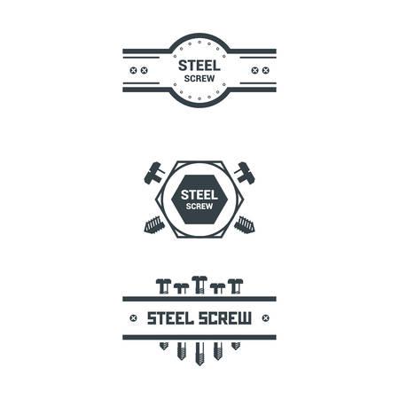 Bolts, screws, nuts, washers. Vector illustration. T-shirt print Poster Logo Retro badge