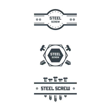 Bolts, screws, nuts, washers. Vector illustration. T-shirt print Poster  Retro badge