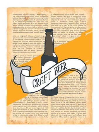 Hand drawn vintage bottle of beer. Sketch style. Vector illustration. T-shirt print. Poster. Logo. Hipster. Retro badge. Emblem. Cold alcohol