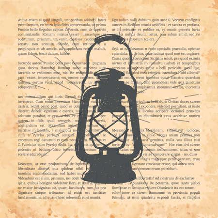 Hand-drawn vintage kerosene lamp. Sketch oil lantern. Vector illustration. T-shirt print. Poster. Isolated on white background. Ilustração
