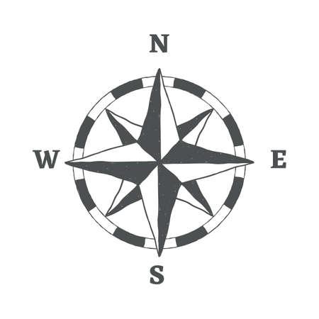 Compass sign icon. Windrose navigation symbol. Graphic design element. Hand drawn vintage symbol on white background. Vector. Ilustração