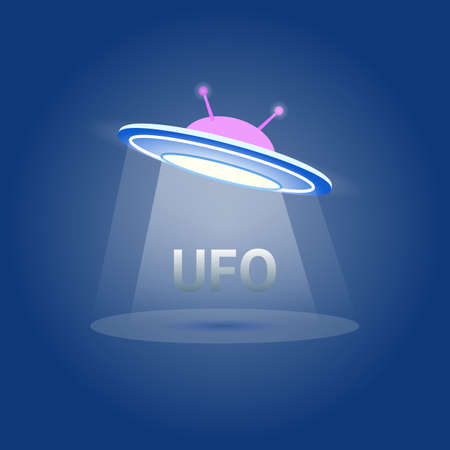 UFO Flying Saucer Icon isolated. Ufo logo element. Ufo Vector illustration on white background. Cartoon style. liens icon. Flying saucer concept.