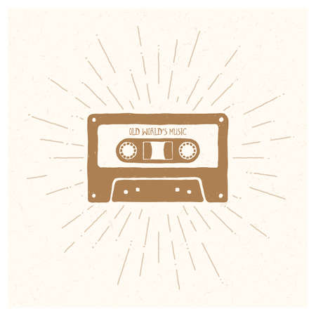 Old Worlds Music. Inspiring Creative Motivation Quote. Vector Typography Poster Design Concept. Hand drawn textured vintage label. Retro badge. Inspirational lettering. Emblem. Cassette tape. Ilustração