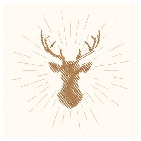Hand drawn vintage deer. Sketch style. Vector illustration. T-shirt print. Poster. Logo. Hipster. Retro badge. Emblem. Fresh organic food. Moose. Horns. Elk.