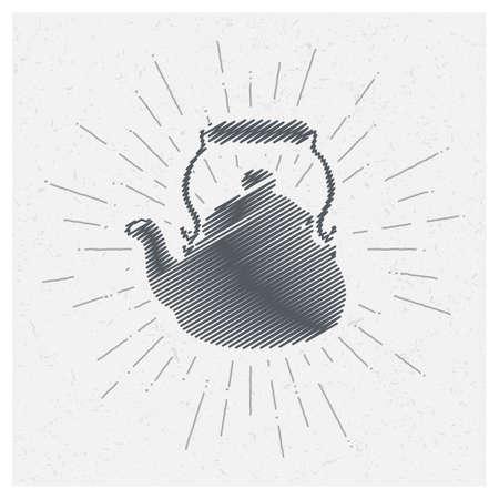 Hand-drawn vintage kettle. Sketch style. Vector illustration. T-shirt print. Poster. Logo. Hipster. Retro badge. Emblem. Black or green tea. Party.