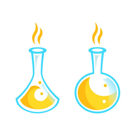 Chemical test tubes icons illustration vector. Chemistry. The set of chemical icons. Flat style. Vector illustration. laboratory.