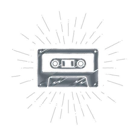 Old Worlds Music. Embroidery. Inspiring Creative Motivation Quote. Vector Typography Poster Design Concept. Hand drawn textured vintage label. Retro badge. Emblem. Cassette tape. Ilustração