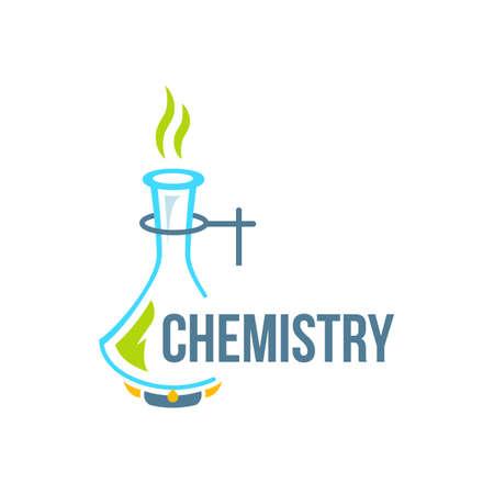 Chemical test tubes icon illustration . Chemistry. The set of chemical icons. Flat style. illustration. Laboratory. Logo.