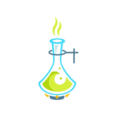 a solution tube: Chemical test tubes icon illustration . Chemistry. The set of chemical icons. Flat style. illustration. Laboratory. Logo.