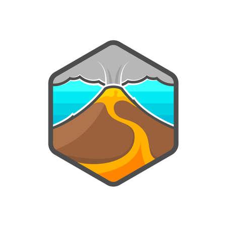 Mountain. Vector illustration. Volcano. Magma. Lava. Logo. Badge. Emblem.