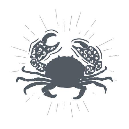 blue fish: Hand drawn vintage crab. Sketch style. Vector illustration. T-shirt print. Logo element. Seafood.