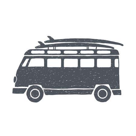 Surf trip concept. Vector Summer surfing retro badge. Beach surfer emblem. Boards, retro car. Surfer icon design.