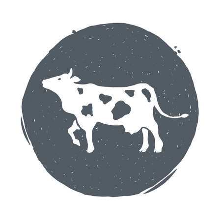 Cow. Animal husbandry. Cow and farm in graphic style from hand drawing image. Set of vector scetches.