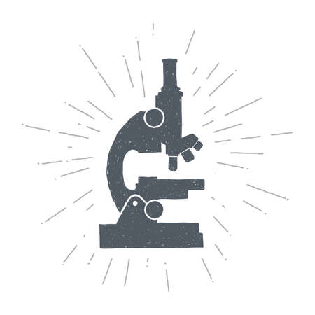 Hand drawn vintage microscope. Sketch style. Vector illustration. T-shirt print. Poster. Logo. Hipster. Retro badge. Science.